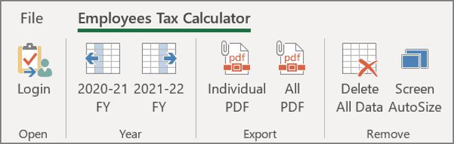 Employees tax calculator options tab
